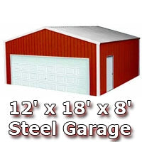 12' x 18' x 8' Steel Metal Enclosed Building Garage