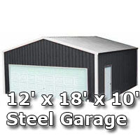 12' x 18' x 10' Steel Metal Enclosed Building Garage
