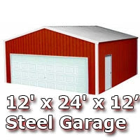 12'W x 24'L x 12'H Steel Metal Enclosed Building Garage