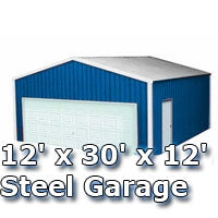 12' x 30' x 12' Steel Metal Enclosed Building Garage
