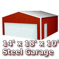 14' x 18' x 10' Steel Metal Enclosed Building Garage