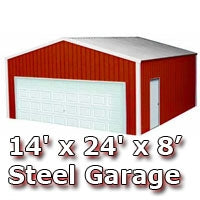 14' x 24' x 8' Steel Metal Enclosed Building Garage
