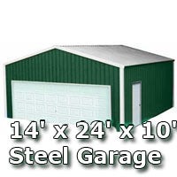 14' x 24' x 10' Steel Metal Enclosed Building Garage