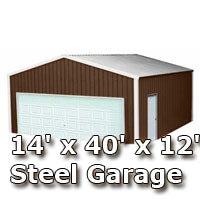 14' x 40' x 12' Steel Metal Enclosed Building Garage