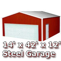 14' x 42' x 12' Steel Metal Enclosed Building Garage