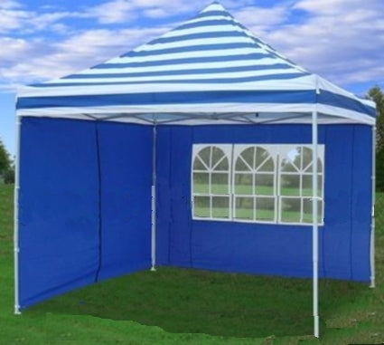 10' x 10' Pop Up White & Blue Striped Party Tent