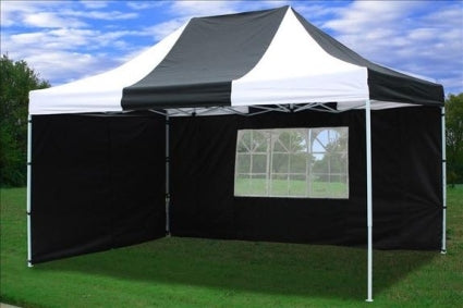 10' x 15' Easy Pop Up Black & White Party Tent