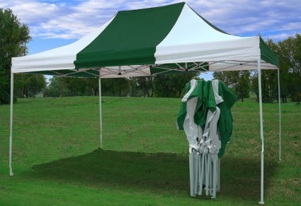 Heavy Duty 10' x 15' White & Green Pop Up Party Tent