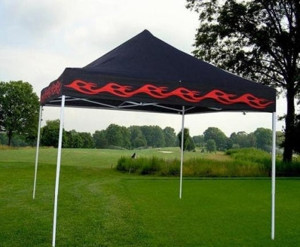 10' x 10' Easy Pop Up Red Flame Black Tent