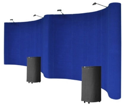 Professional 20' Blue Portable Pop Up Trade Show Booth Display Kit With Spotlights