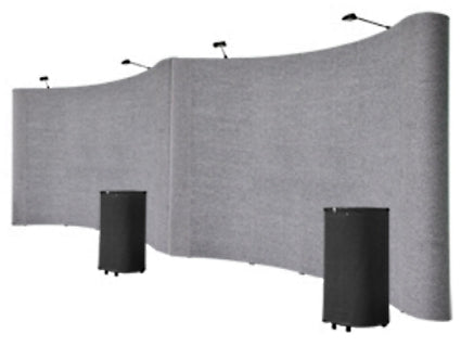 Professional 20' Gray Portable Pop Up Trade Show Booth Display Kit With Spotlights