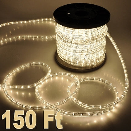 150' Warm White 2 Wire Home Outdoor 110V Led Rope Light