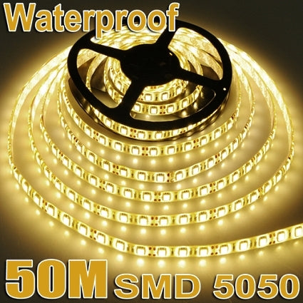 Brand New 50M Waterproof 300LED/5M SMD 5050 12V Warm White Flexible Strip Lights