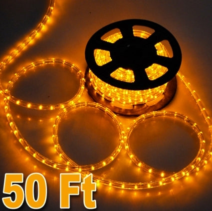 50' Yellow Led Outdoor Rope Light 1/2 Inch Tube 120V