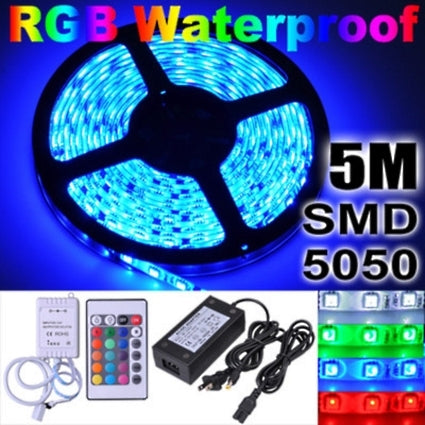 Brand New 5M 5050 Flexible SMD 300 LED Waterproof RGB Strip Light+Remote Control+Power Car