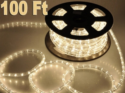 100' Warm White LED Rope Decorative Home Christmas Lighting 110V In/Outdoor
