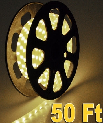 50' Flexible Warm White Led Rope Light 1/2 Inch Tube 120V