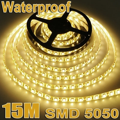 Brand New 3x 5M 5050 SMD 60 LED Warm White Waterproof Strip Light+Remote Control