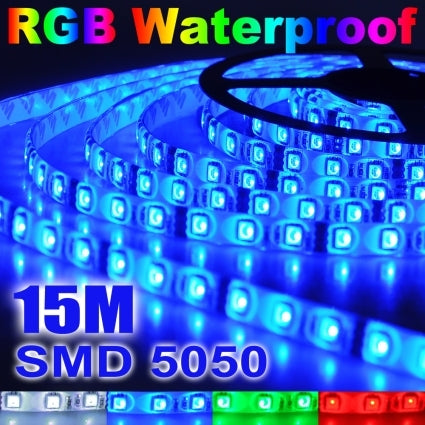 Brand New 3x 5M 5050 SMD 300 LED RGB Waterproof Strip Light+Remote Control