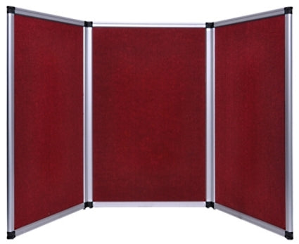 Professional 6ft Red Tabletop Folding 3 Panel Trade Show Booth