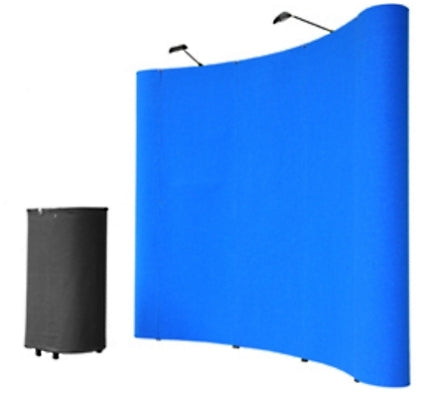 Professional 8' Blue Portable Pop Up Trade Show Booth Display Kit w/ Spotlights