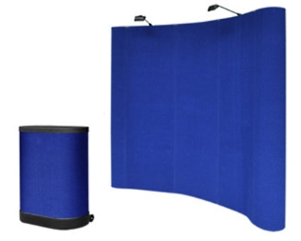 Professional 8' FT Blue Pop Up Trade Show Display Booth Podium Case