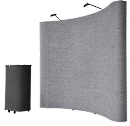 Professional 8' Gray Portable Pop Up Trade Show Booth Display Kit w/ Spotlights