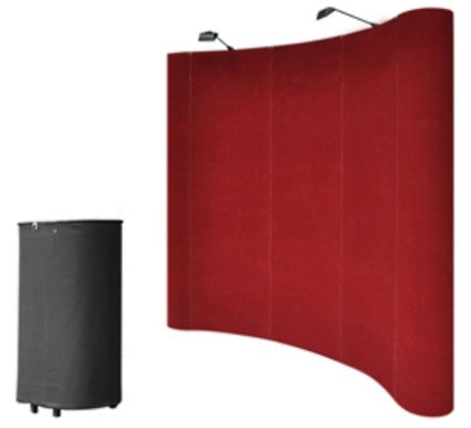 Professional 8' Red Portable Pop Up Trade Show Booth Display Kit w/ Spotlights