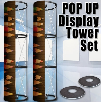 High Quality 360 View Circle 2 Tower Display Banner Stand