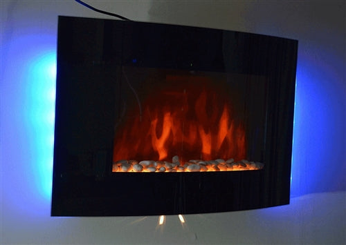 Brand new GV Tempered Glass Panel Electric Fireplace Heater 1500W Flame Effect with LED Back light Control