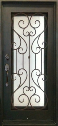 38 in. X 81 in. Single Wrought Iron Entry Door Noble Tempered Frosted Glass