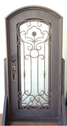 38 in. X 81 in. Single Wrought Iron Entry Door Curve Tempered Frosted Glass
