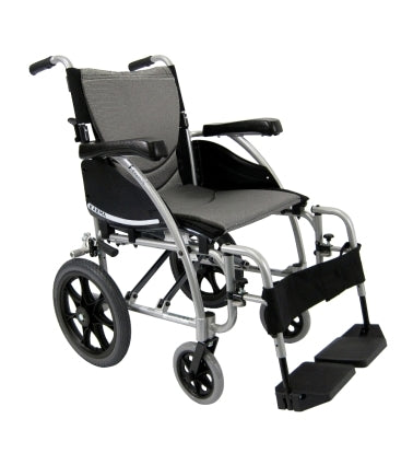 Brand New High Quality Karman S-115-TP Ergonomic Transport Wheelchair with Wire Break and Swing Away Footrest
