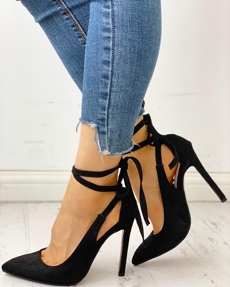 Pointed Toe Crisscross Bandage Thin Heels