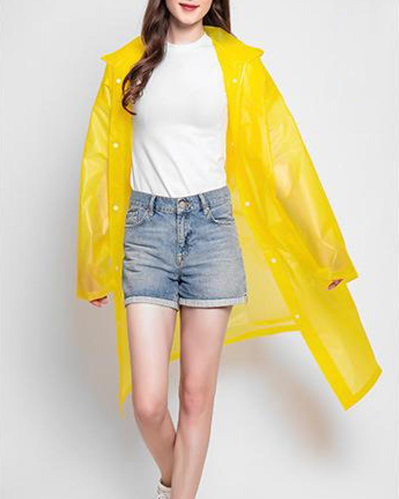 Solid Waterproof Hooded Raincoat