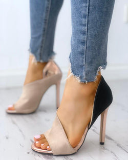 Colorblock Peep Toe High-heeled Sandals