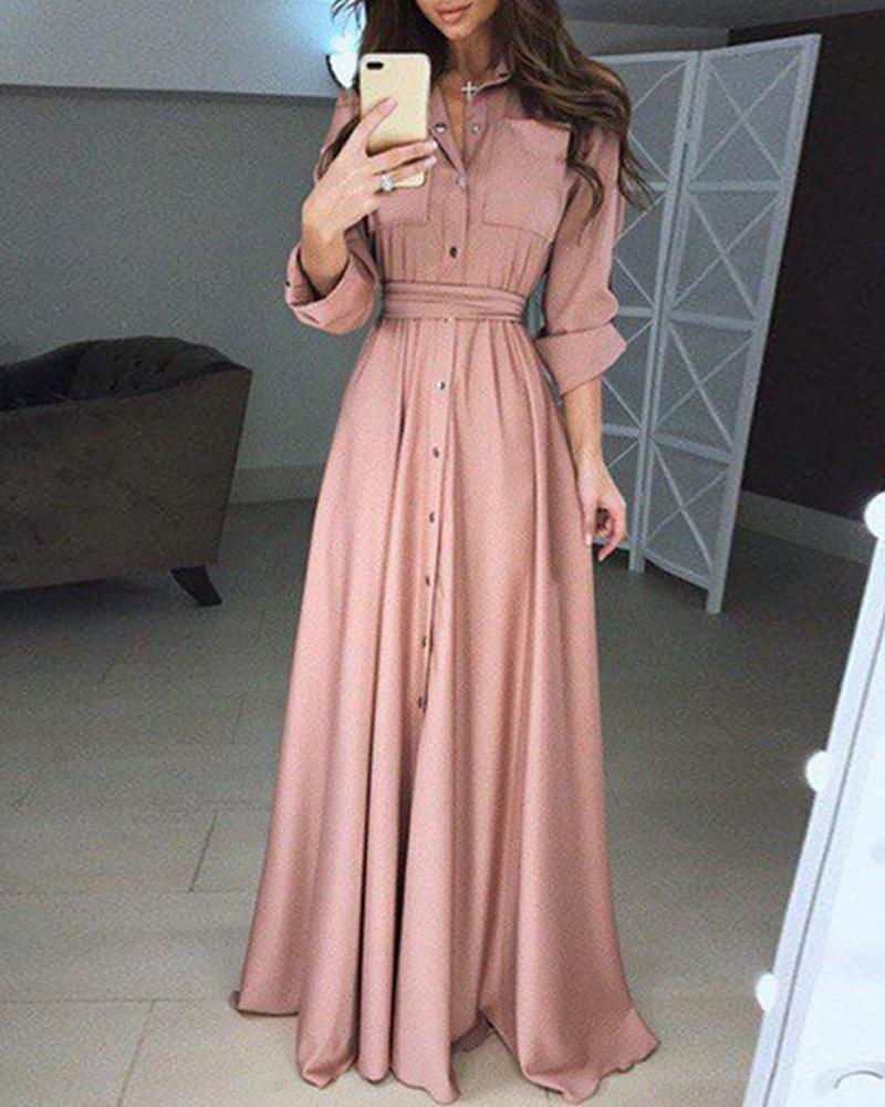 Snap Button Sheath Maxi Dress