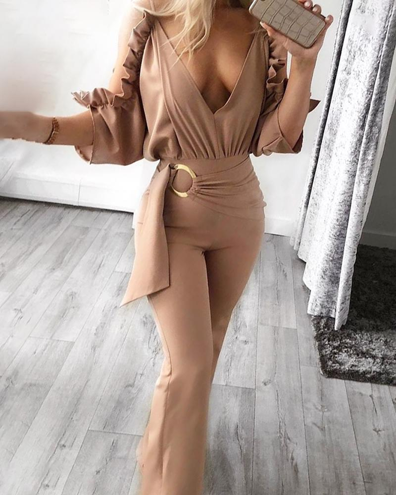 Solid Ruffled Hem Ruched Jumpsuit