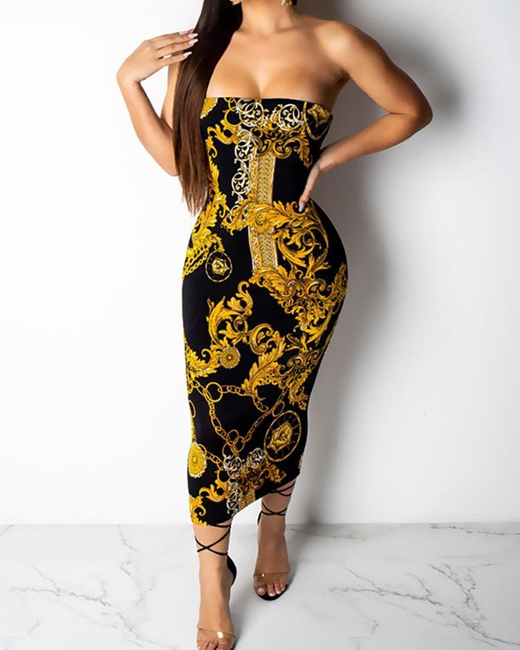Retro Print Tube Dress