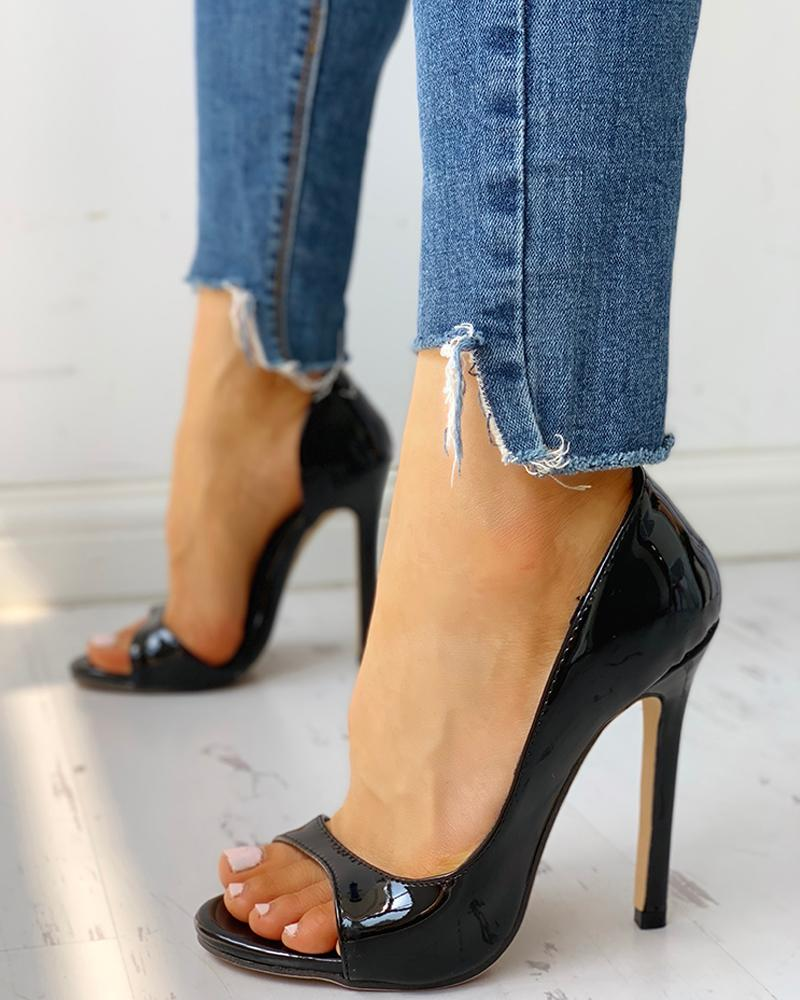Peep Toe Cutout Thin Heels
