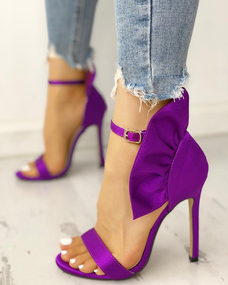 Velvet Ruffles Embellished Thin Heeled Sandals