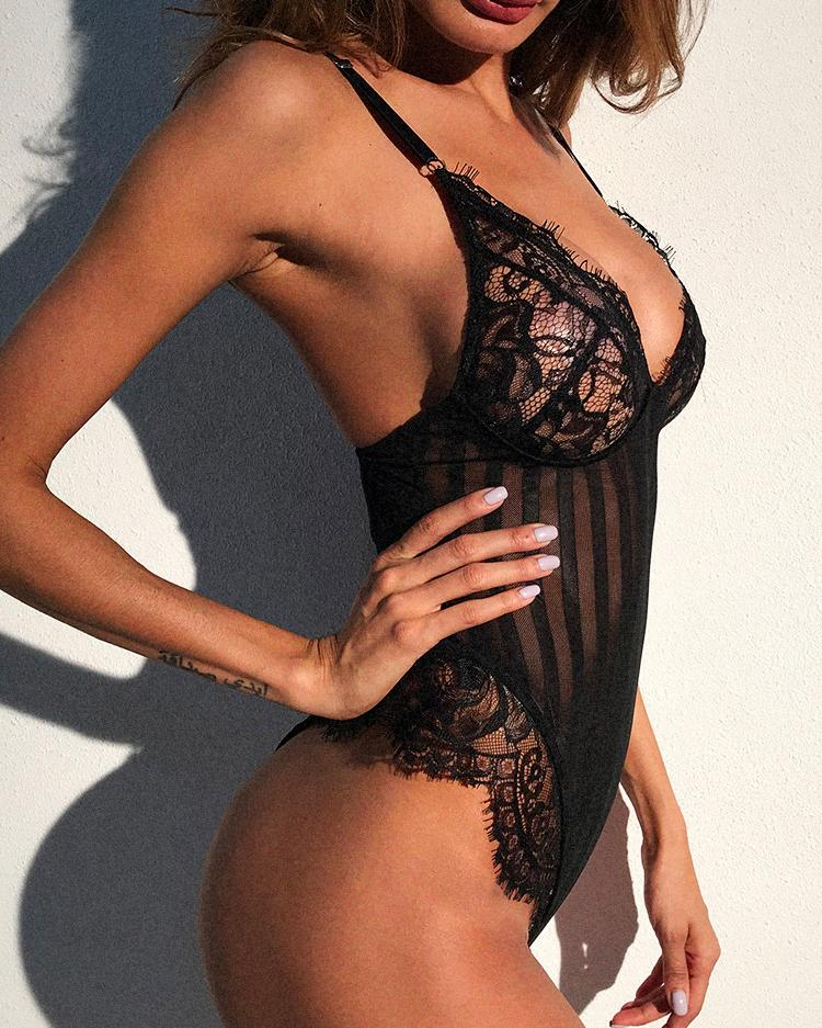 See Through Crochet Lace Lingerie Bodysuit