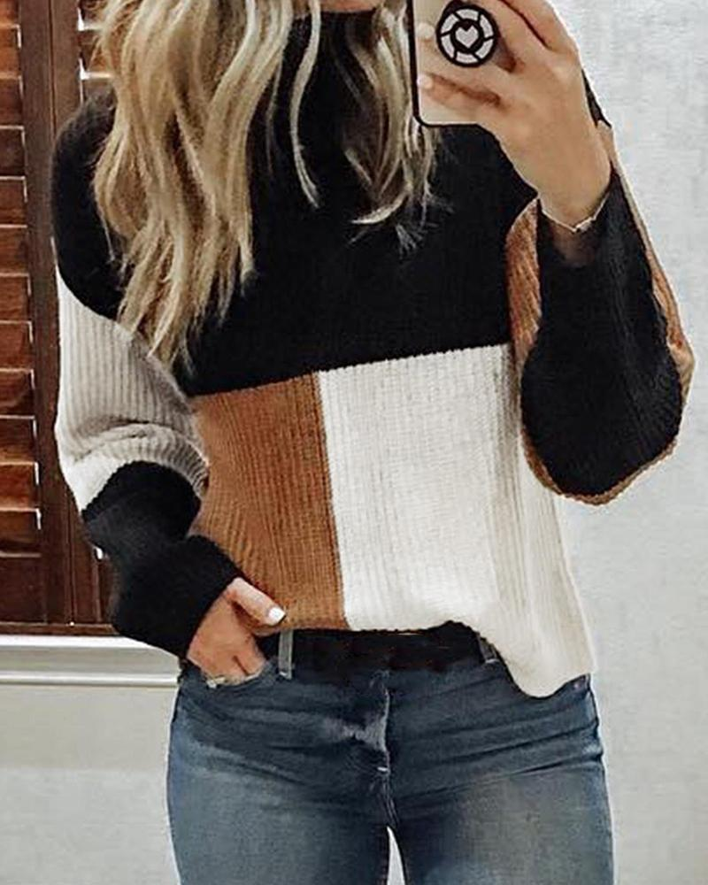 Oversized Colorblock High Neck Sweater