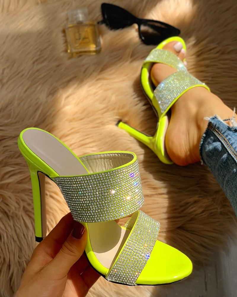 Gem-Studded Slingback Thin Heels