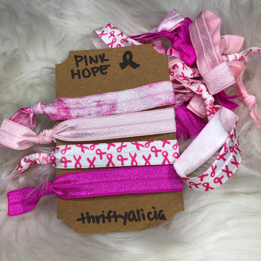 Pink Hope Hair Tie Pack