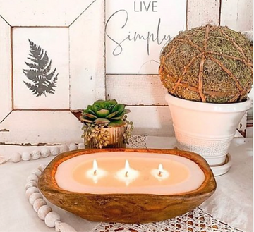 Natural Wood 3 Wick Dough Bowl Soy Candle