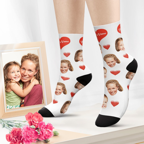 Custom Photo Socks Heart Face Socks