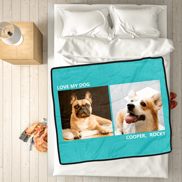 Photo Blanket Personalized Pets Fleece with 2 Photos - MyPhotoSocksAU