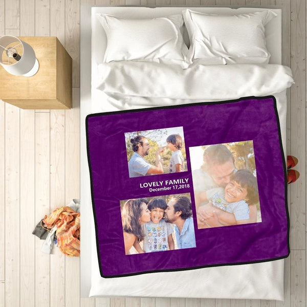 Personalized Love with 3 Photos Custom Fleece Custom Blanket - MyPhotoSocksAU