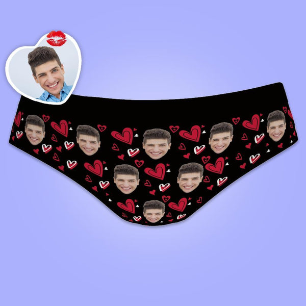 Custom Women's Panties All Over Print Face Photo With Hearts